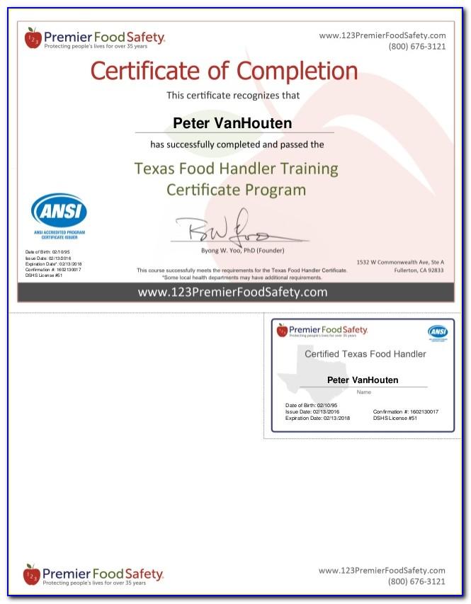 Texas Food Handlers Certification Verification