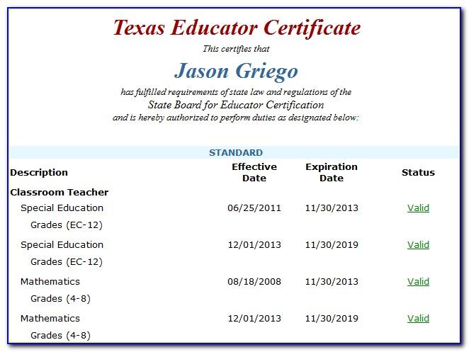 Texas Teacher Certification Search