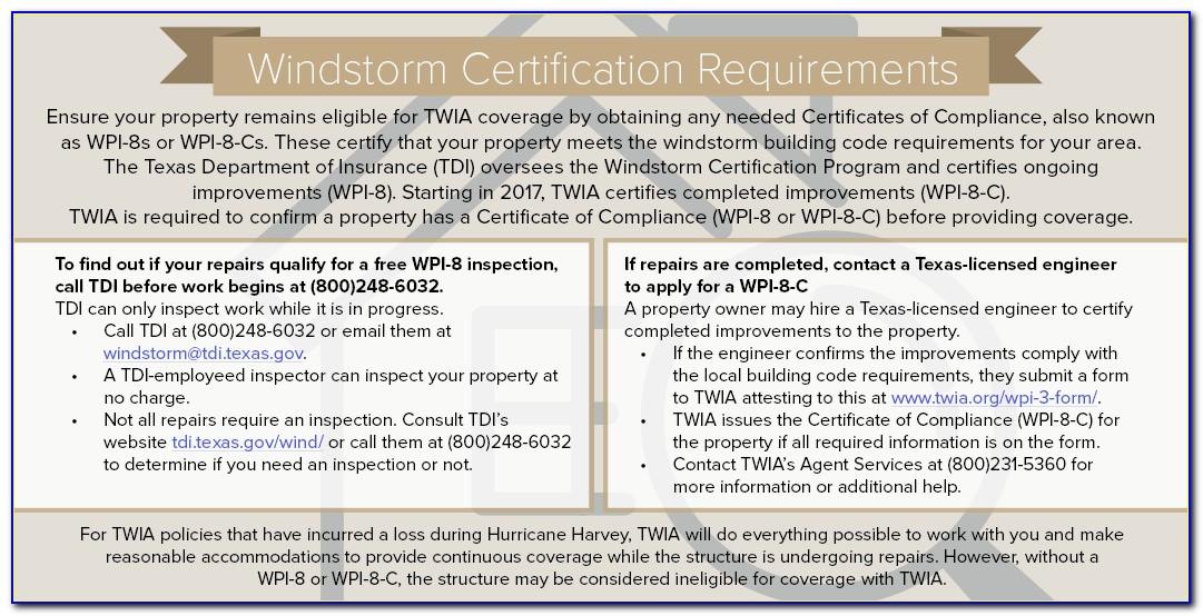 Texas Windstorm Certificate Requirements