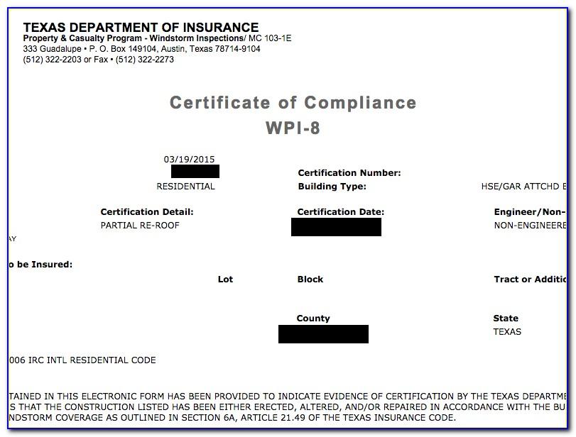 Texas Windstorm Certificate Wpi 2