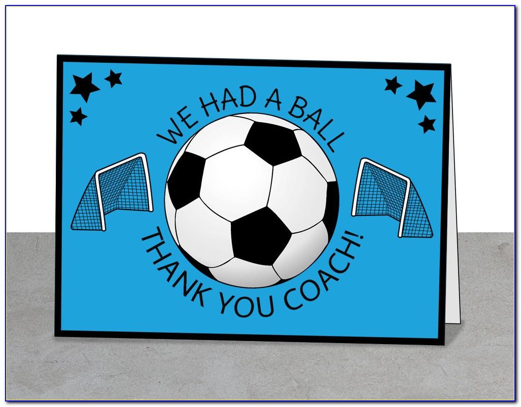 Thank You Card Soccer Coach Templates