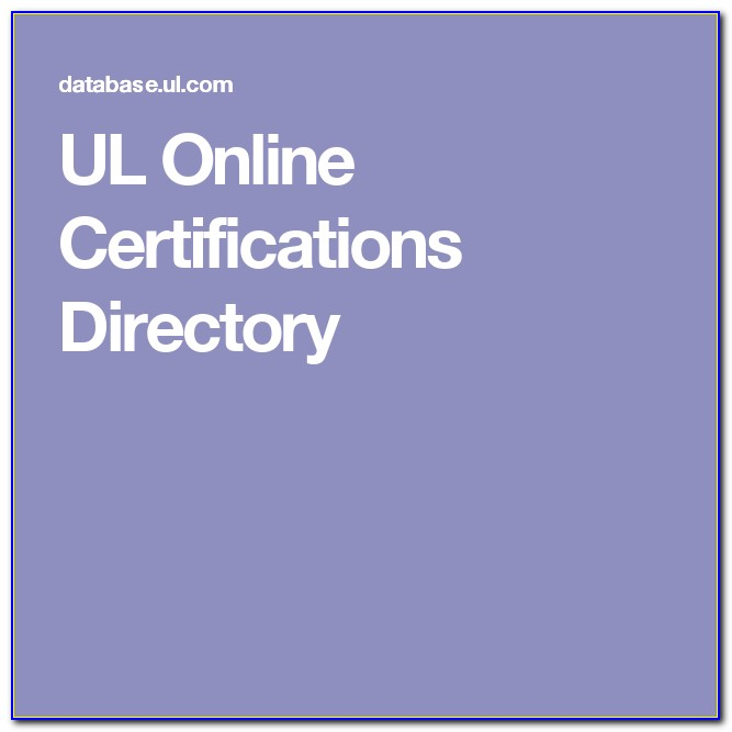 Ul Online Certifications Directory File Number Search