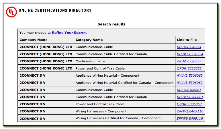 Ul Online Certifications Directory Search Results