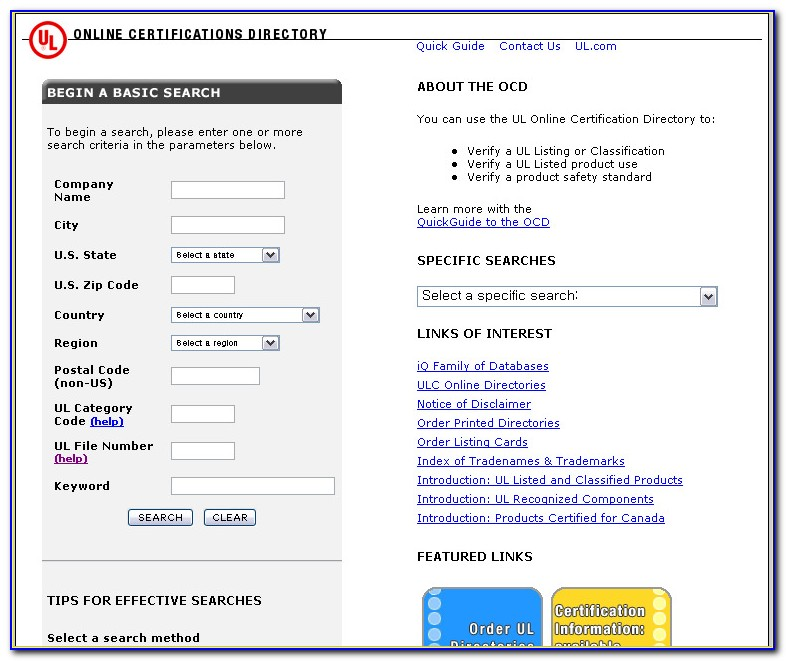Ul Online Certifications Directory Search