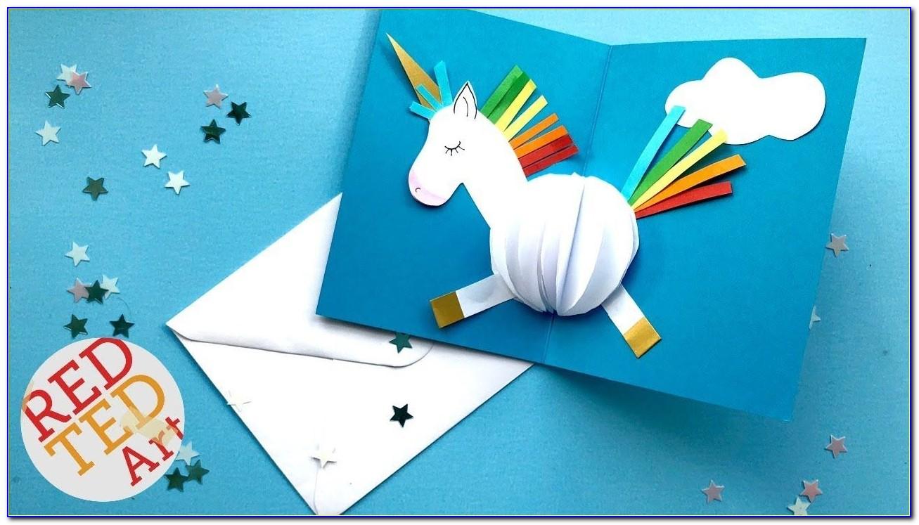 Unicorn Pop Up Card Template Free