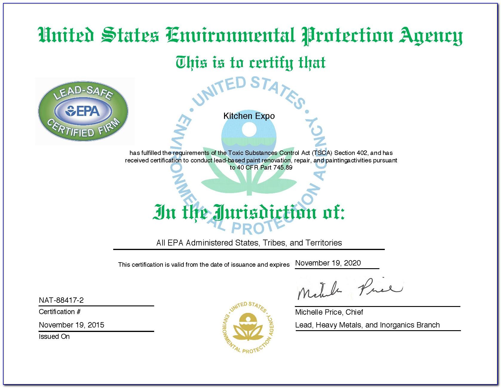 Universal Cfc Certification Preferred