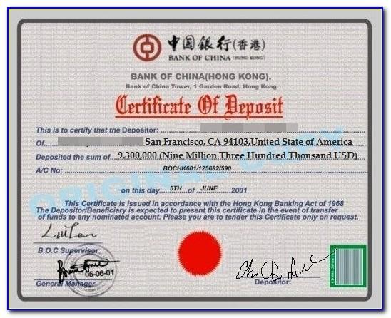 Usa Certificate Of Deposit