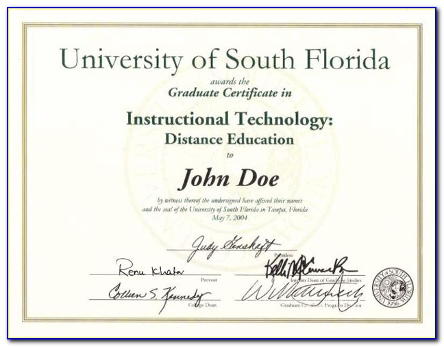 Usf Graduate Certificate Completion Form