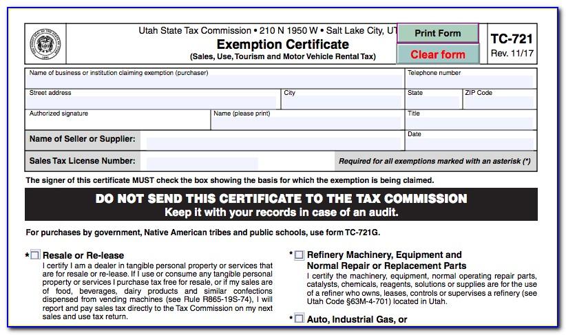 Utah Resale Certificate Form