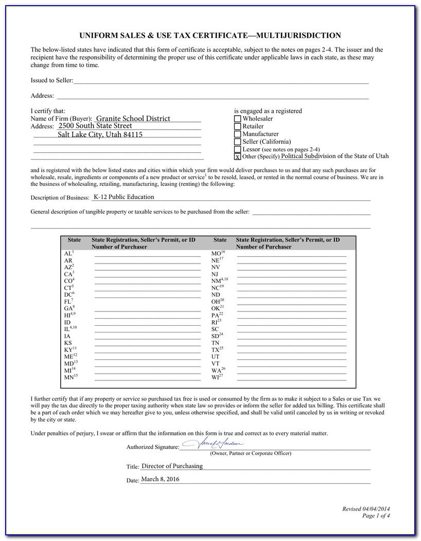 Utah Resale Tax Certificate