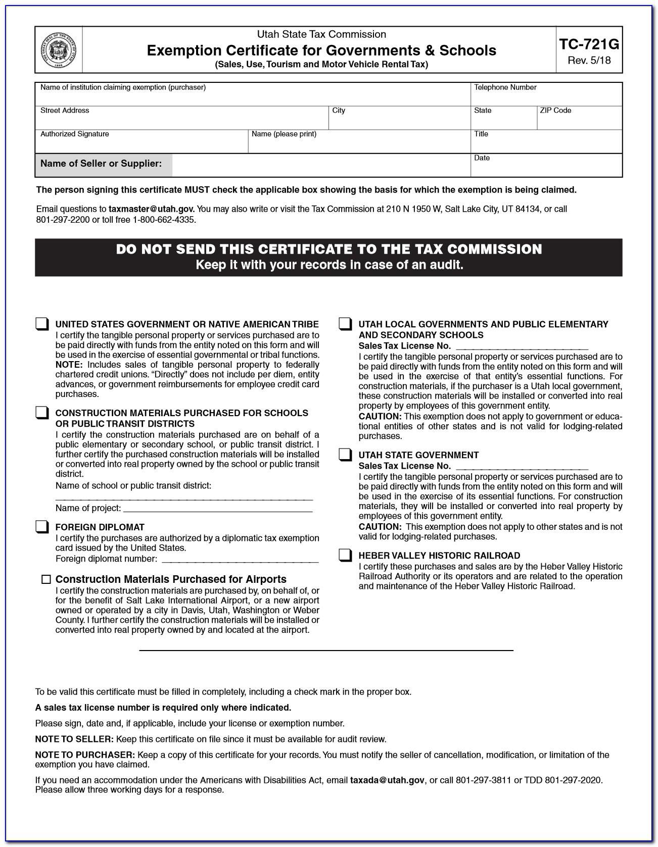 Utah State Resale Certificate
