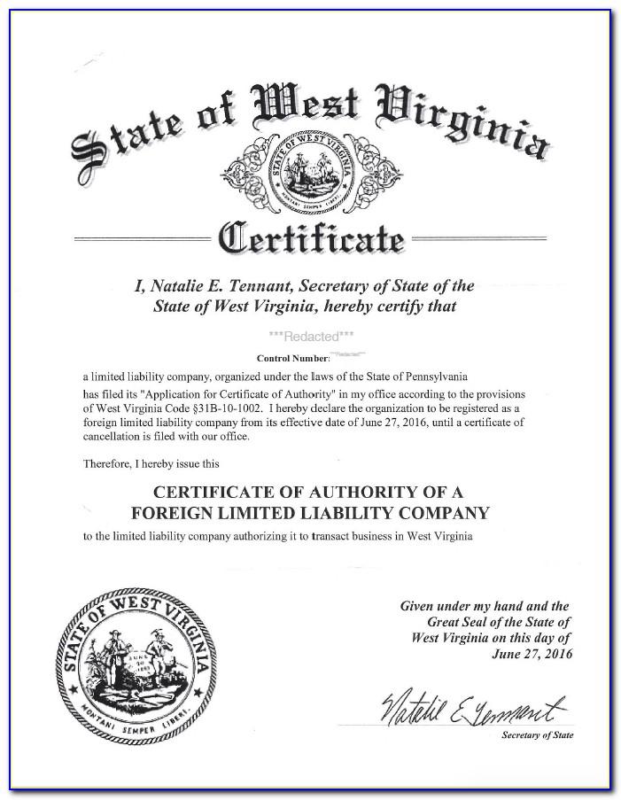 Va Certificate Of Good Standing