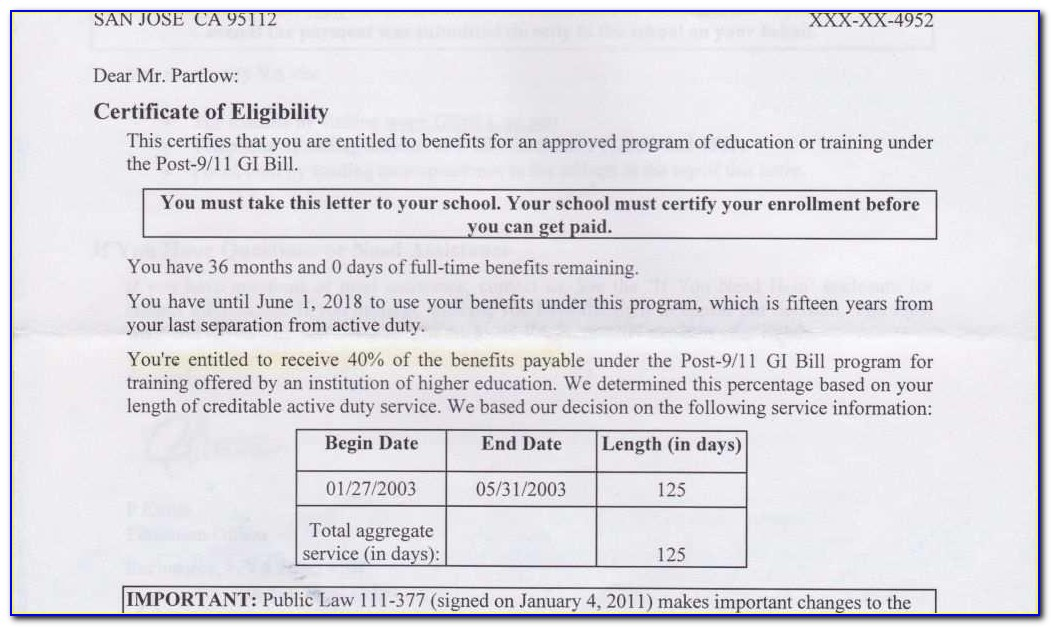 Va.gov Certificate Of Eligibility Gi Bill
