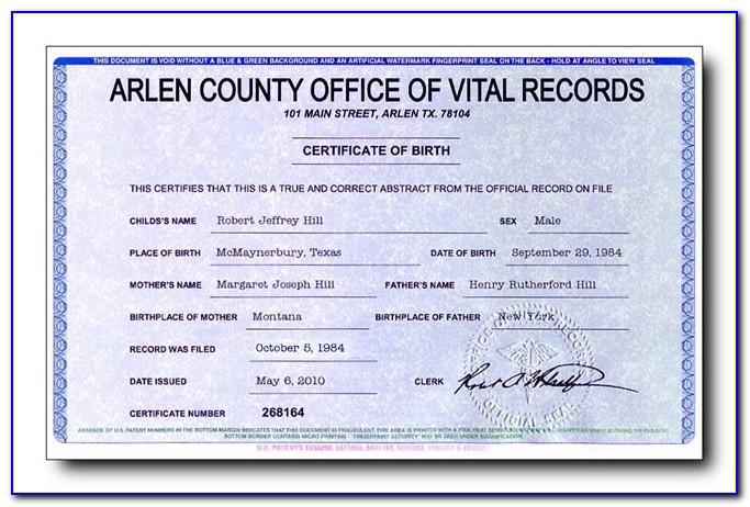 Vitalchek Birth Certificate Form