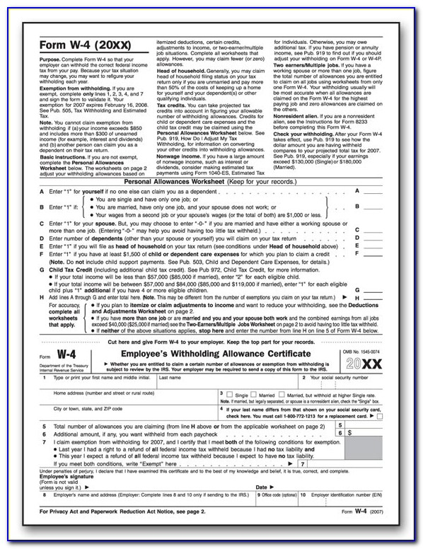 W 4 Employee's Withholding Allowance Certificate 2020 Pdf