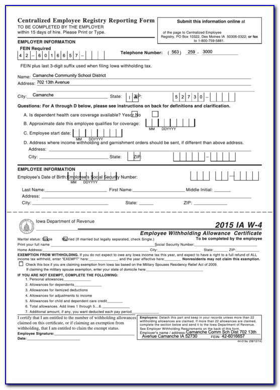 W 4 Employee's Withholding Allowance Certificate Form 2020