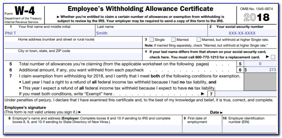 W 4 Employee's Withholding Allowance Certificate Line 7
