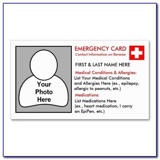 Wallet Printable Emergency Card Template