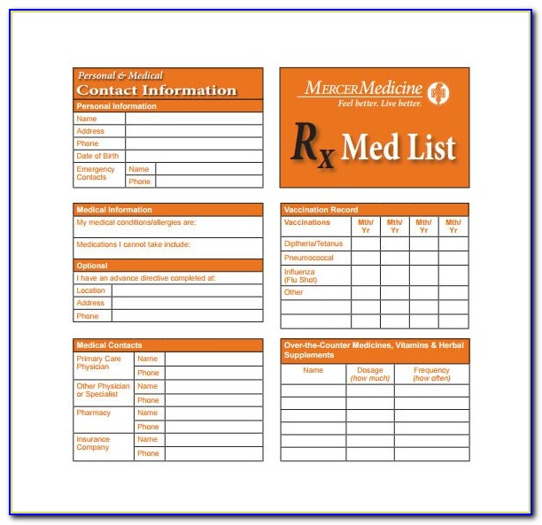Wallet Size Medication Card Template