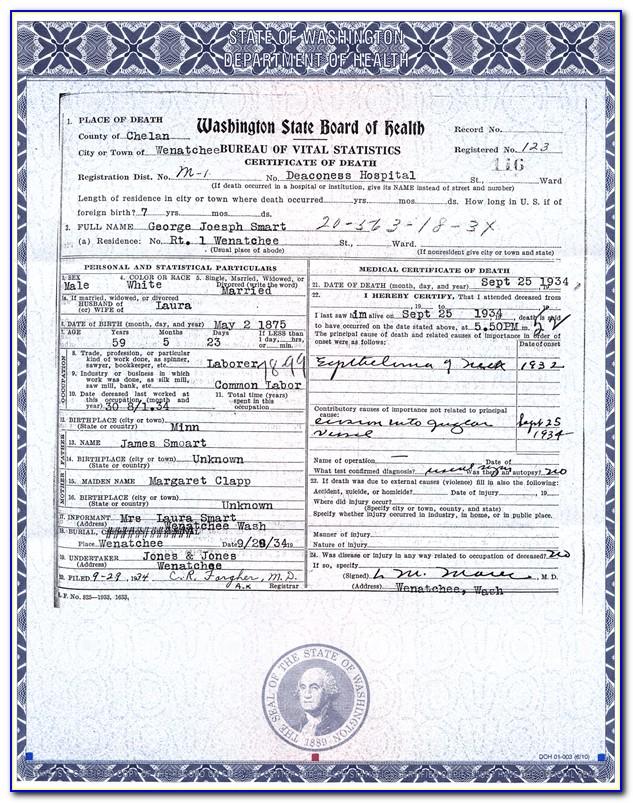 Washington Death Certificate Application