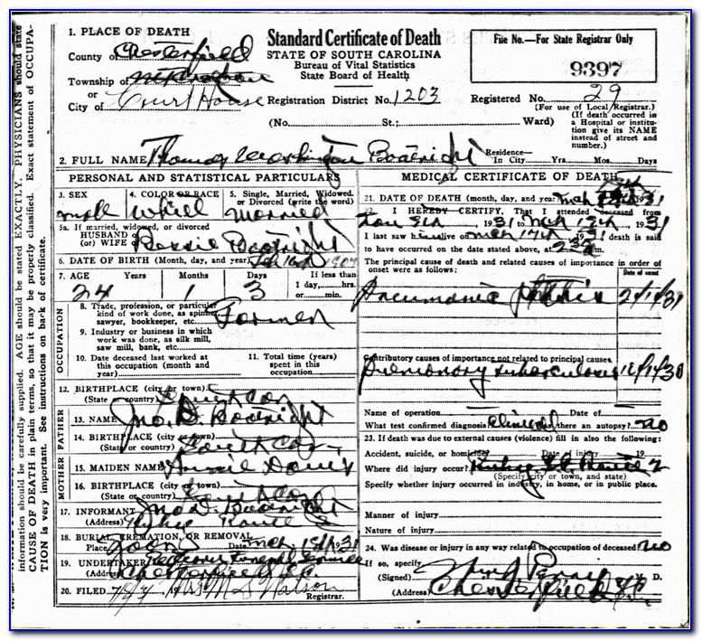 Washington Death Certificate Index