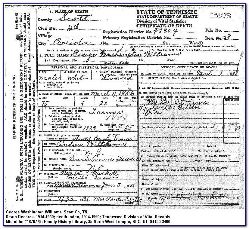 Washington Death Certificate Request
