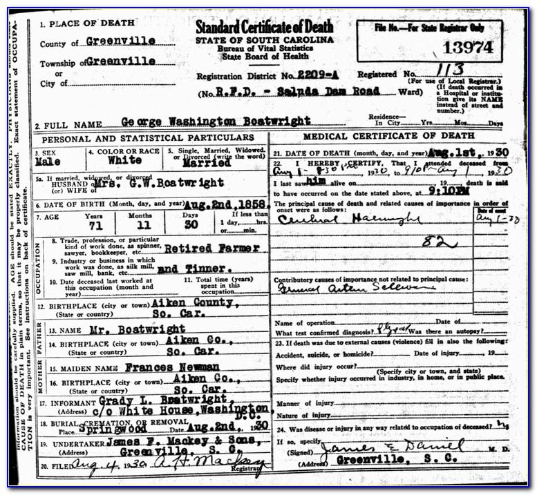 Washington Death Certificate Search