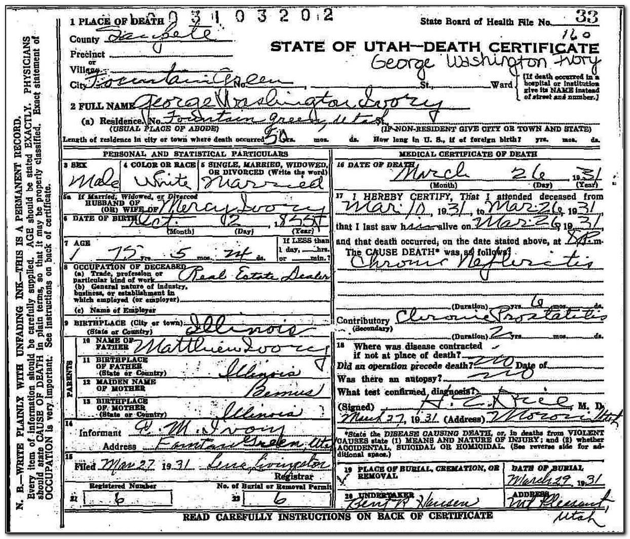Washington Death Certificates Free