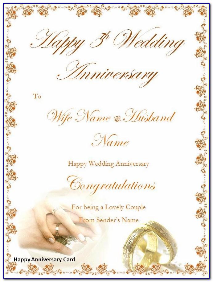 Wedding Anniversary Card Template Ai