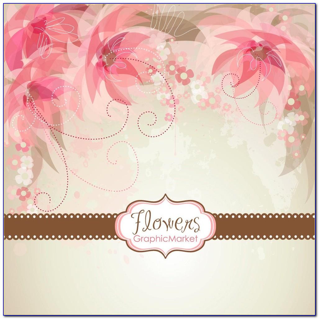 Wedding Card Floral Border Vector