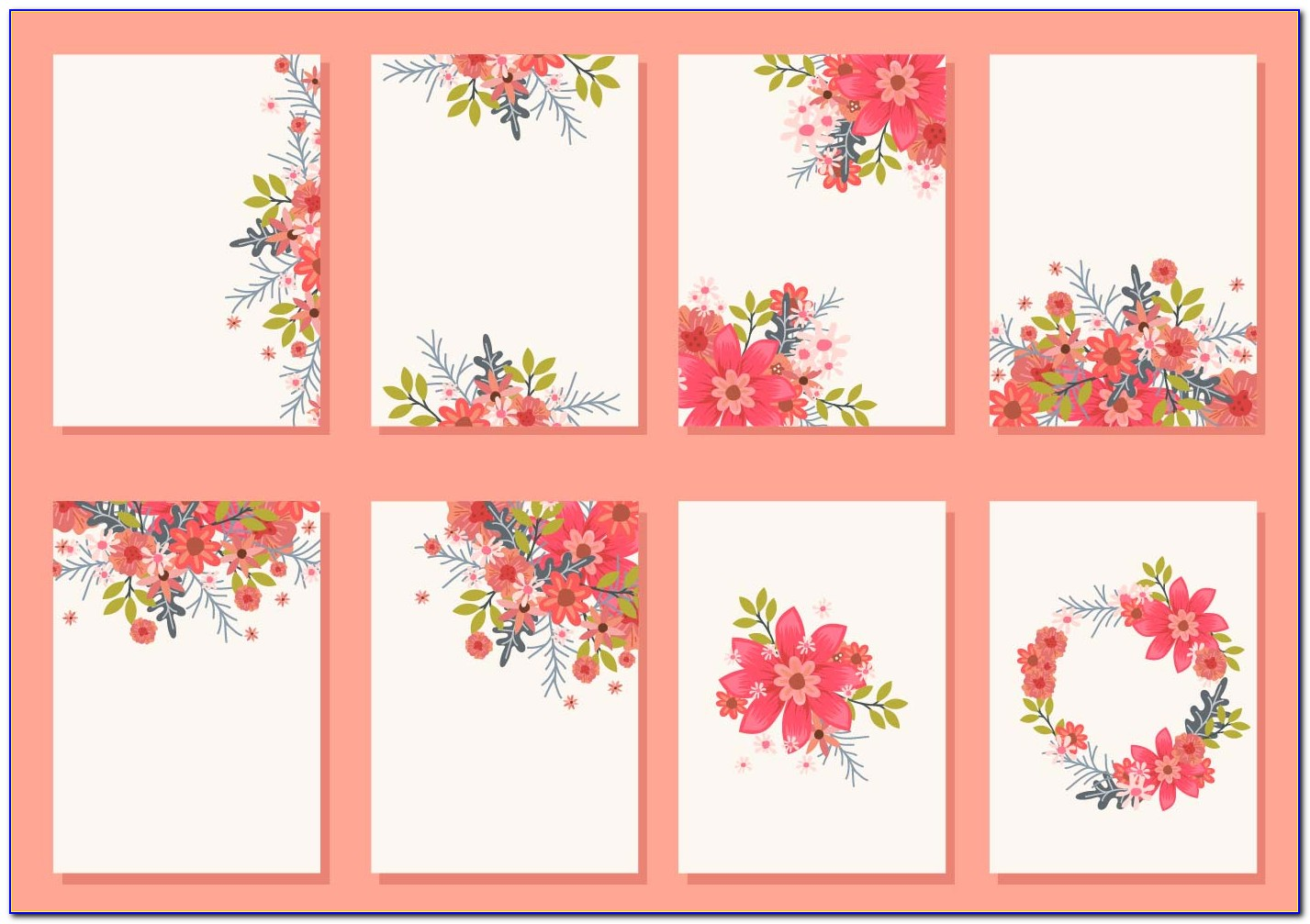 Wedding Card Floral Template