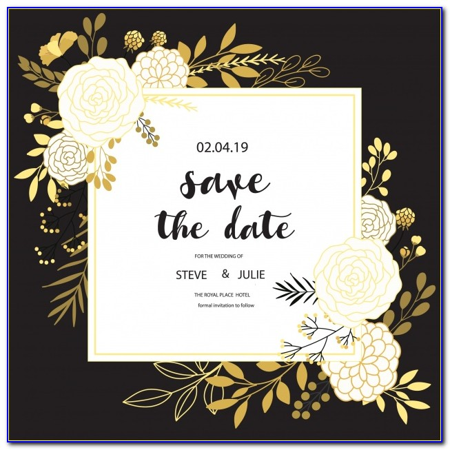 Wedding Card Floral Vector