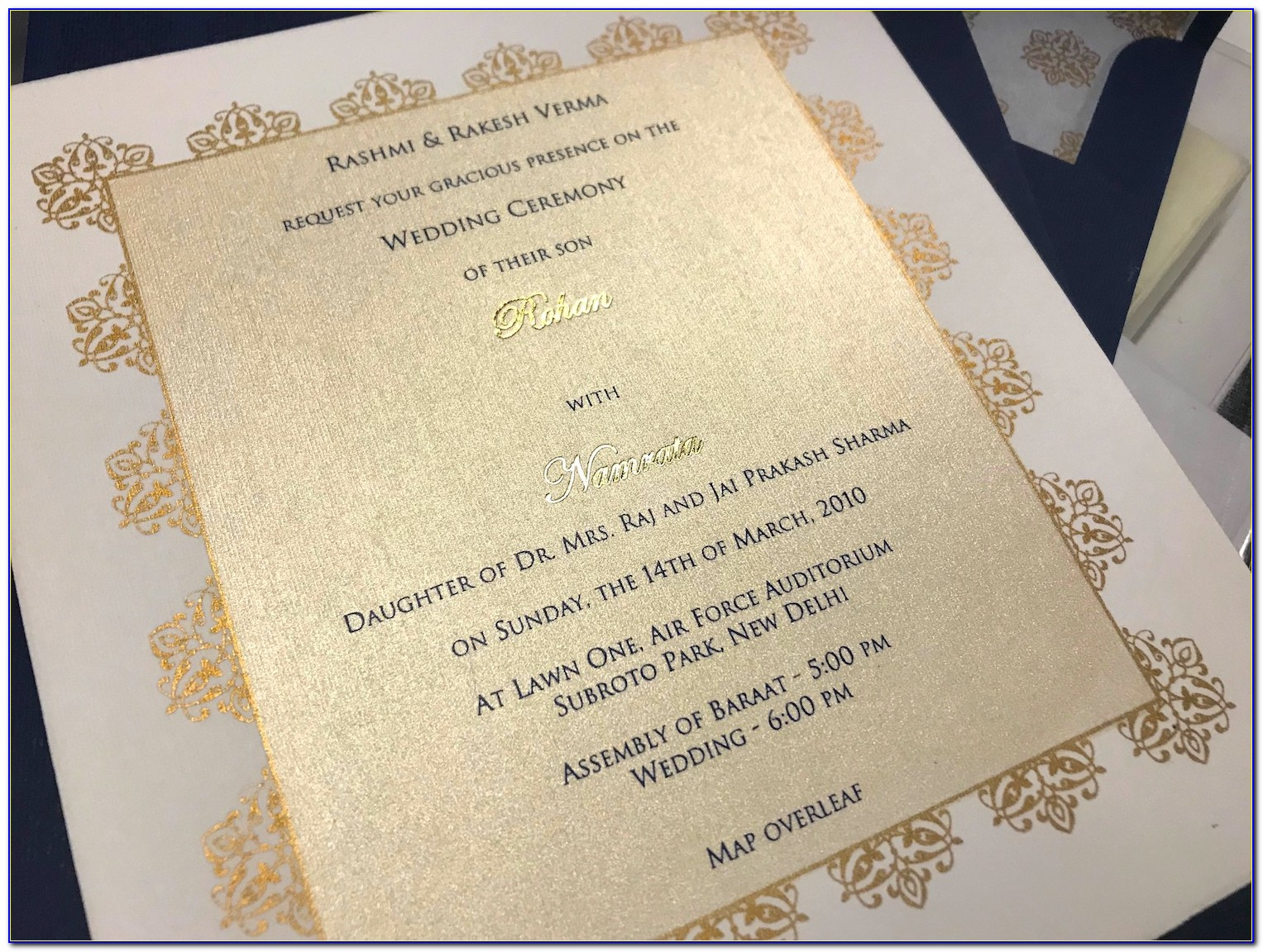 Wedding Card Matter In English For Son Christian
