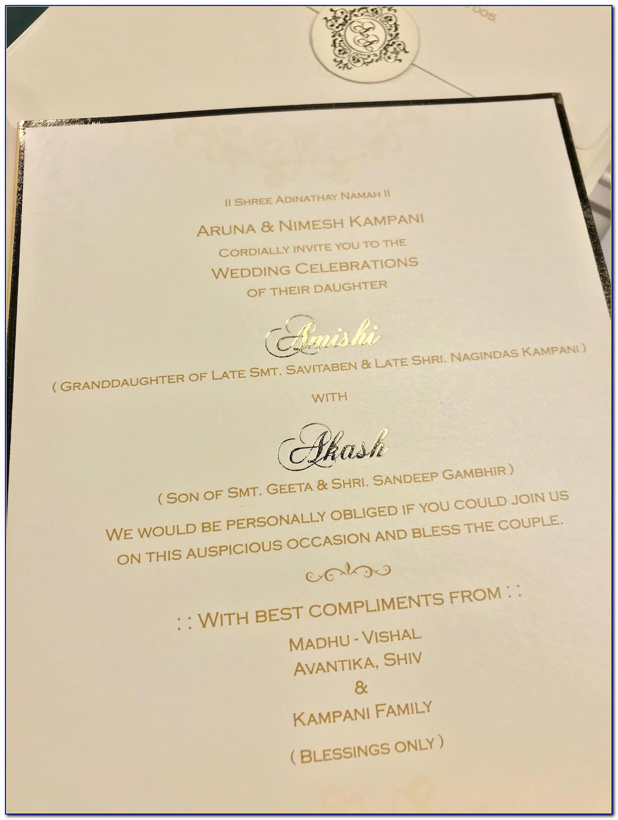 Wedding Card Matter In English For Son Hindu