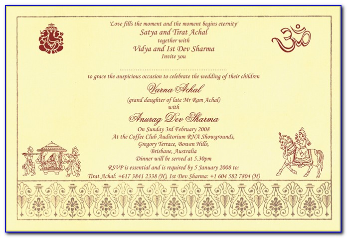 Wedding Card Wording In English In Indian Style Word Format