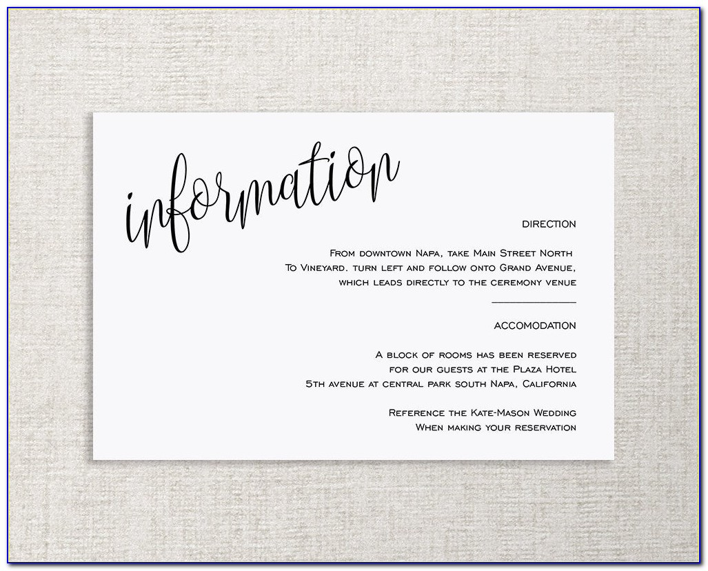 Wedding Enclosure Cards Free Template