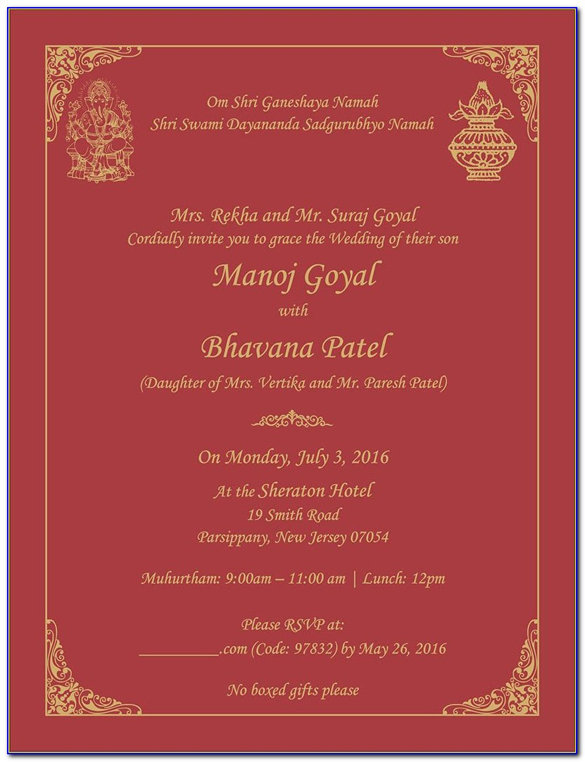 Wedding Invitation Card Matter In English For Son