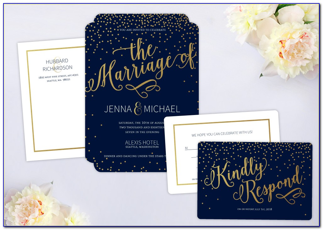 Wedding Invitation With Rsvp Cards