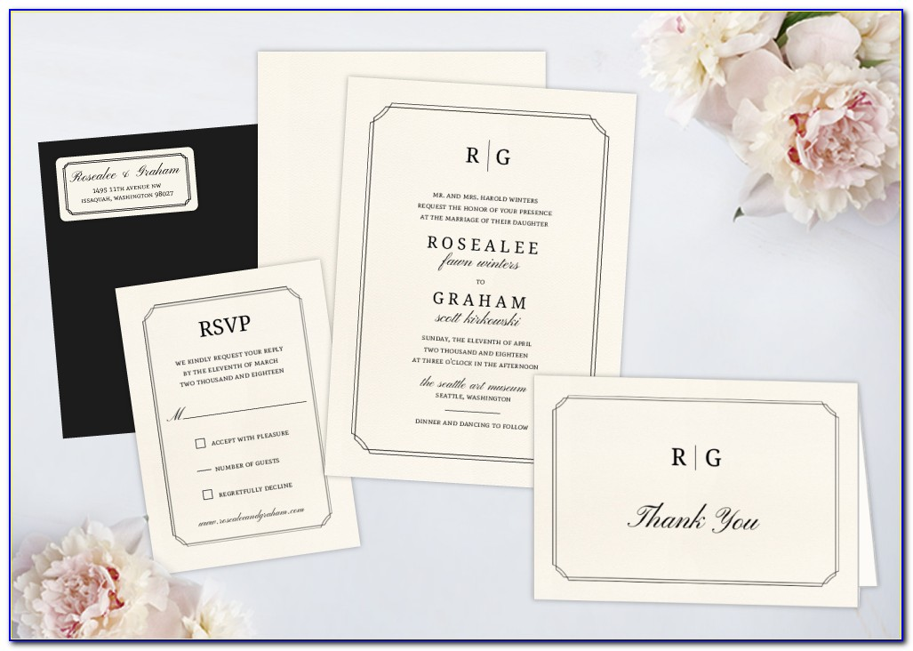 Wedding Invitations With Rsvp Cards Attached