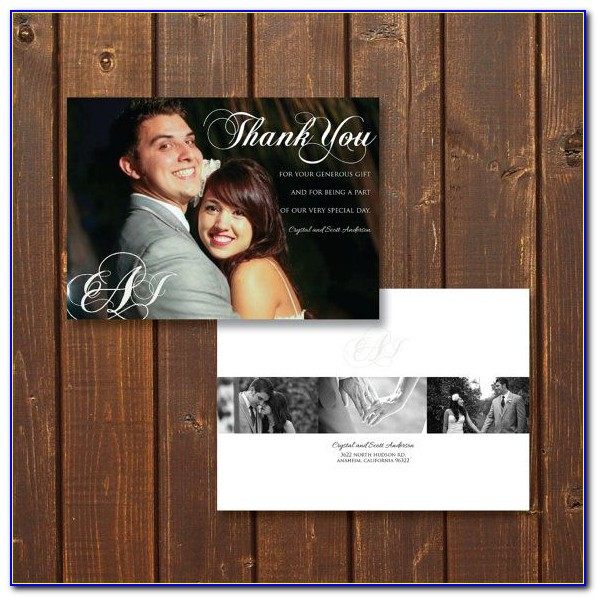 Wedding Thank You Cards With Photo On Front And Back