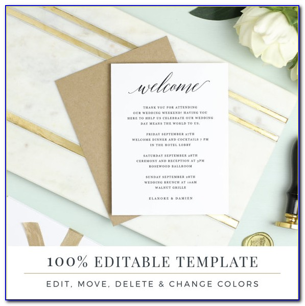 Welcome Card Template Hotel