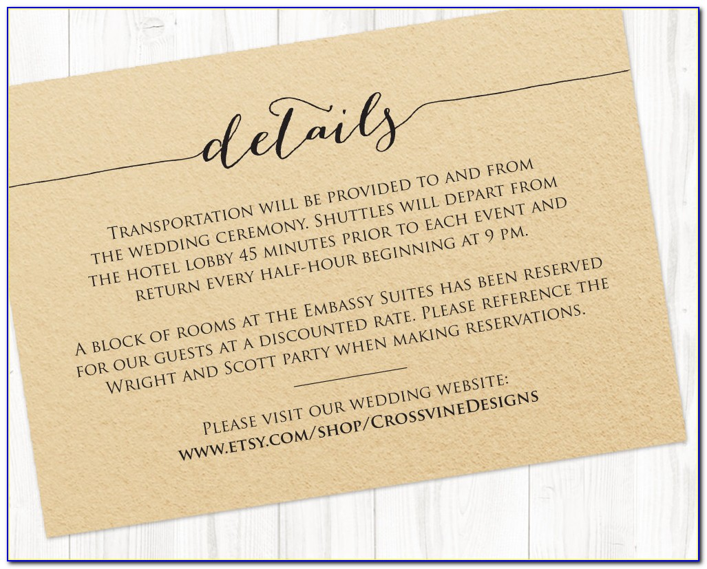 What Goes On A Wedding Information Card