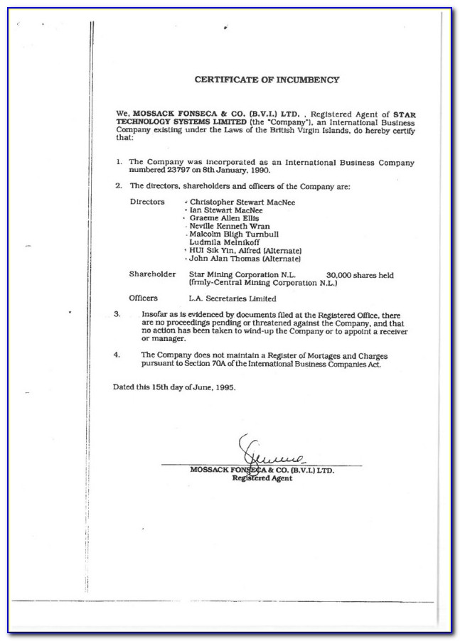 What Is A Certificate Of Incumbency Bvi