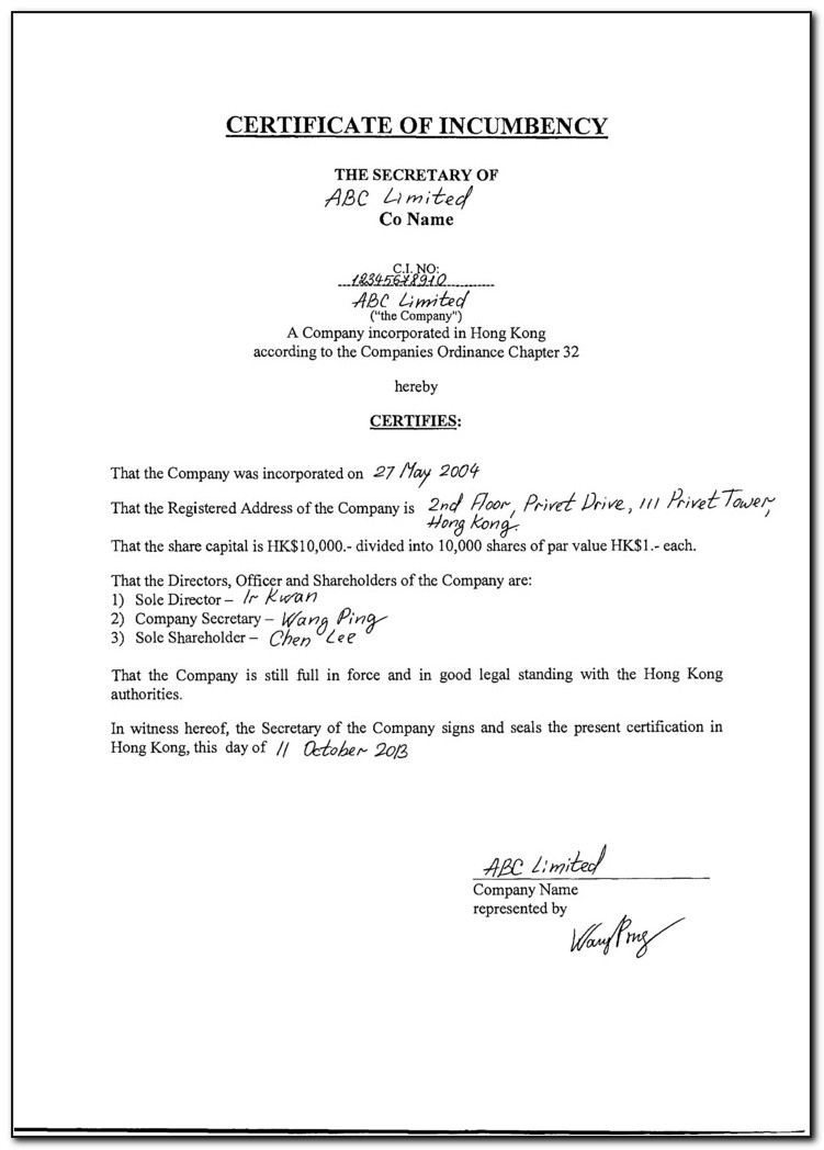 What Is A Certificate Of Incumbency Hong Kong