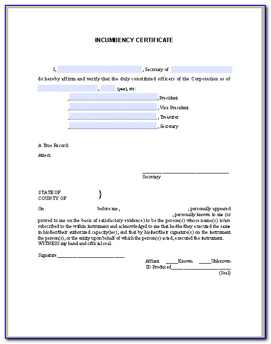 What Is A Incumbency Certificate Form