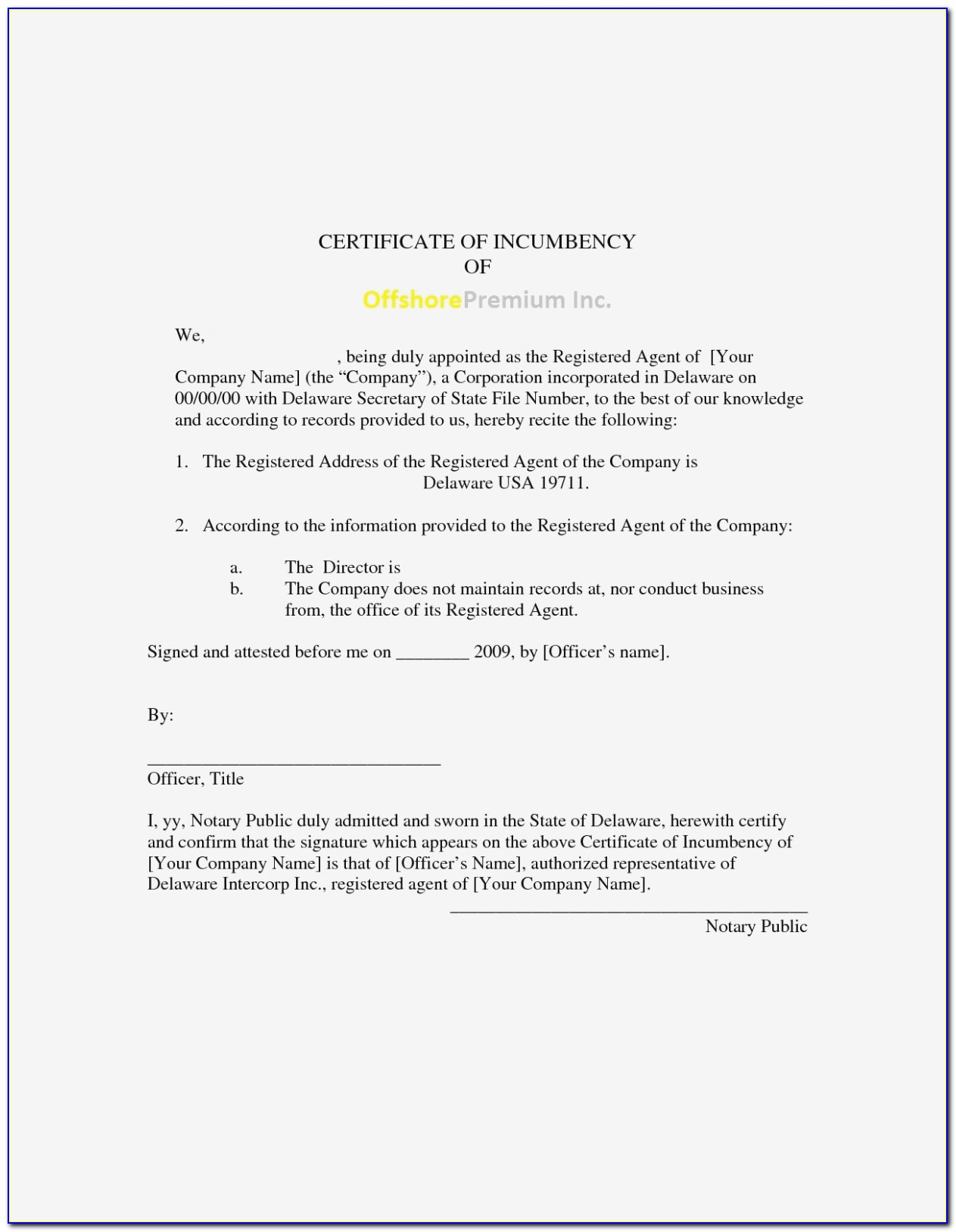 What Is The Purpose Of A Certificate Of Incumbency