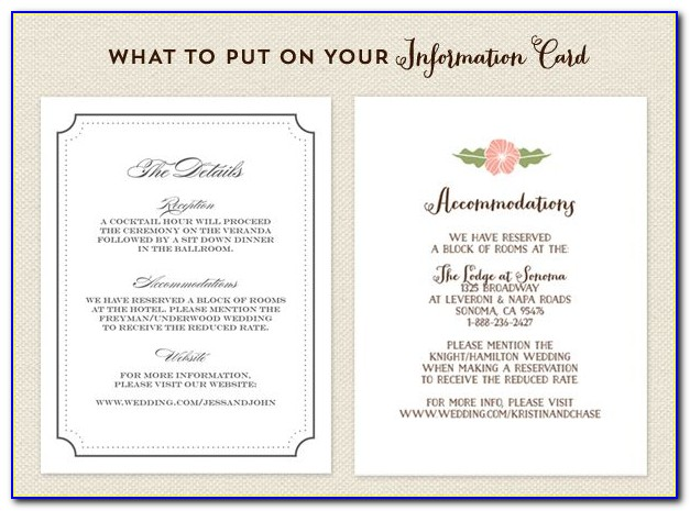 What To Include On A Wedding Information Card
