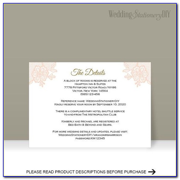 What To Put On A Wedding Information Card