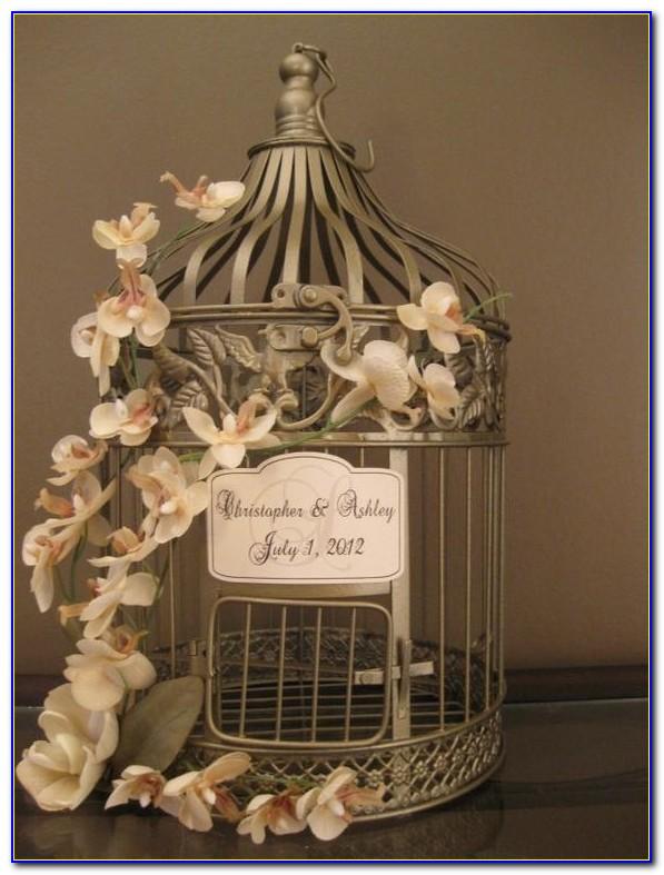 White Wire Bird Cage Wedding Card Holder