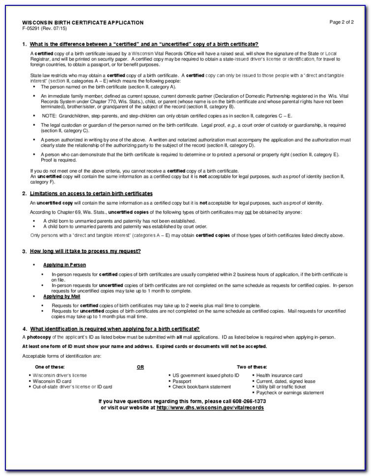 Wisconsin Birth Certificate Application Online